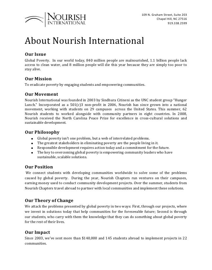 About Nourish International<br />Our Issue <br />Global Poverty.  In our world today, 840 million people are malnourished,...