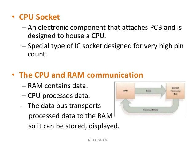 • CPU Socket – An electronic component that attaches PCB and is designed to house a CPU. – Special type of IC socket desig...