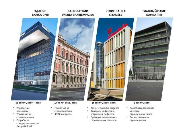  Управление проектами  Технадзор за строительством  Разработка стандартов качества Design & Build ЗДАНИЕ БАНКА DNB 14 0...