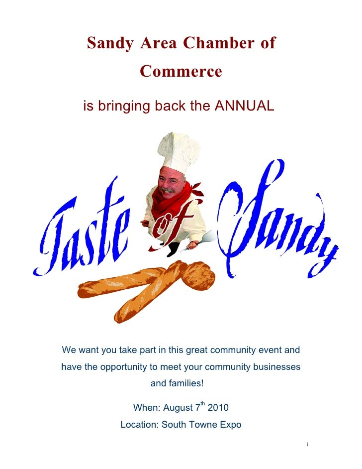 Sandy Area Chamber of                  Commerce     is bringing back the ANNUAL     We want you take part in this great co...