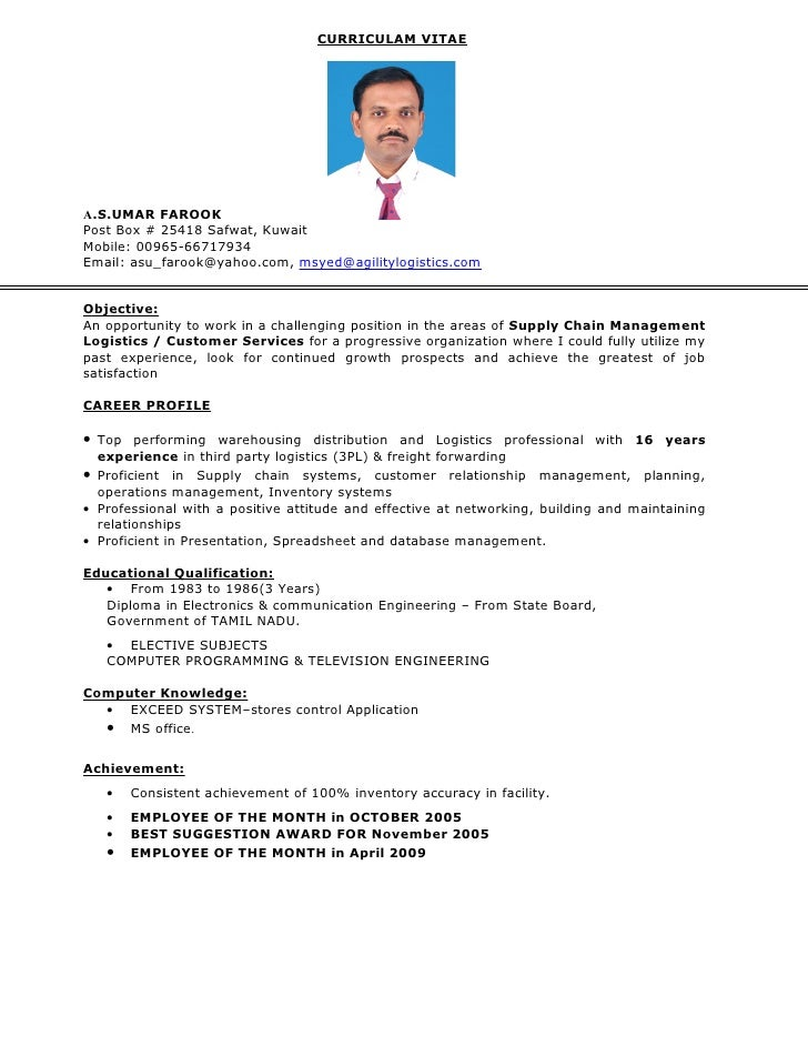 Updated Resume. CURRICULAM VITAE A.S.UMAR FAROOK Post Box # 25418 Safwat,  Kuwait Mobile: 00965  ...  Updated Resume
