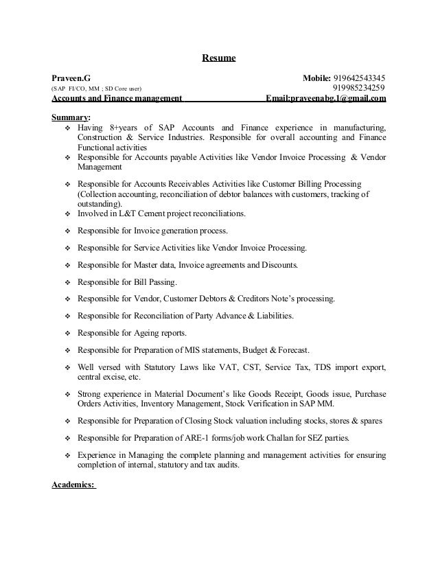 Years Sap Accounts  Finance Resume