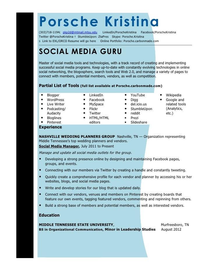 Attractive Updated Social Media Resume. Porsche Kristina (303)718 1194(  Pkp2d@mtmail.mtsu.edu ...