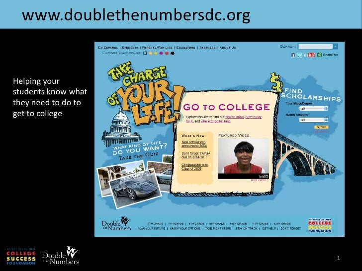 www.doublethenumbersdc.org<br />1<br />Helping your students know what they need to do to get to college<br />