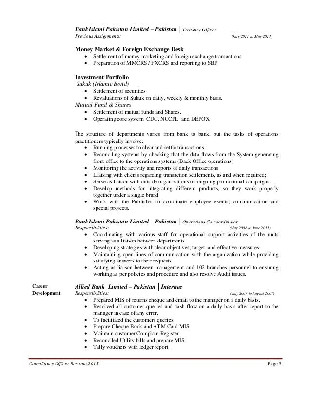 resume for compliance officer