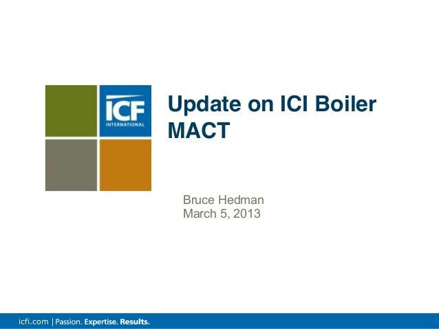 icfi.com | Bruce Hedman March 5, 2013 Update on ICI Boiler MACT
