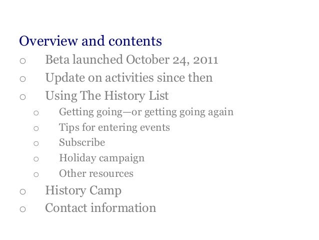 The History List for Local Historical Societies -- Update Slide 2