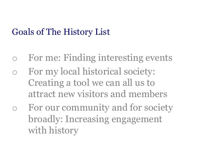 The History List for Local Historical Societies -- Update Slide 3