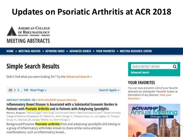Updates on psoriatic arthritis at acr 2018