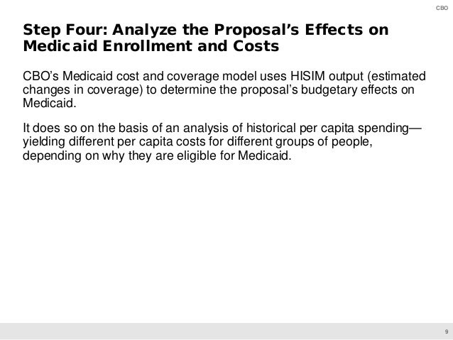 9 CBO CBO's Medicaid cost and coverage model uses HISIM output (estimated changes in coverage) to determine the proposal's...