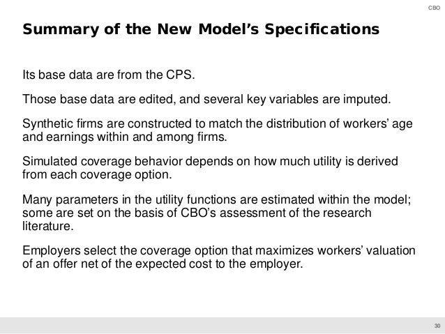 30 CBO Its base data are from the CPS. Those base data are edited, and several key variables are imputed. Synthetic firms ...