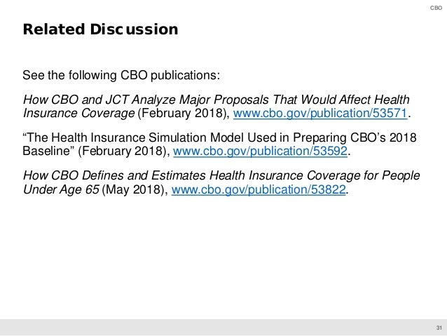 31 CBO See the following CBO publications: How CBO and JCT Analyze Major Proposals That Would Affect Health Insurance Cove...