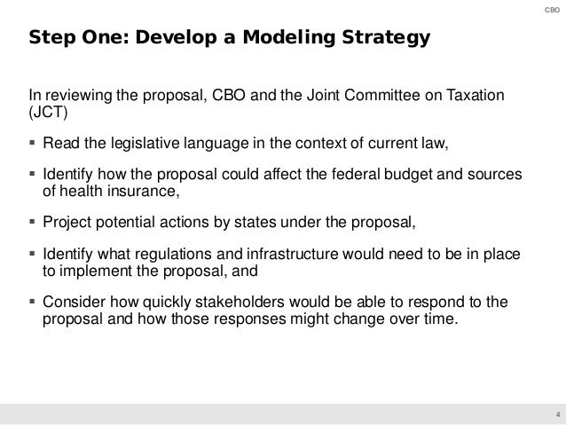 4 CBO In reviewing the proposal, CBO and the Joint Committee on Taxation (JCT)  Read the legislative language in the cont...