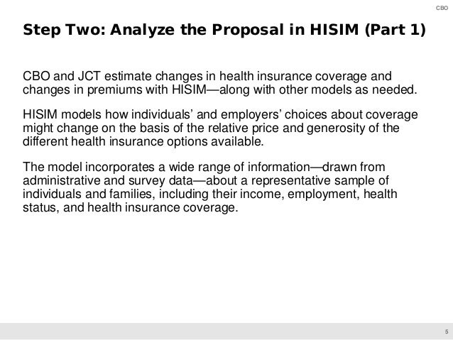 5 CBO CBO and JCT estimate changes in health insurance coverage and changes in premiums with HISIM—along with other models...