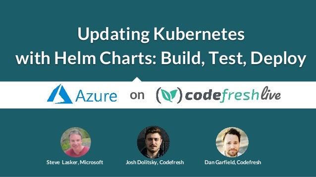 Updating Kubernetes with Helm Charts: Build, Test, Deploy Steve Lasker, Microsoft Josh Dolitsky, Codefresh Dan Garfield, C...