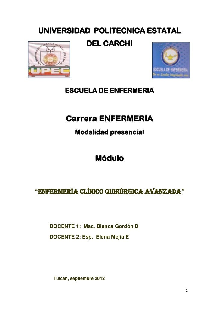 UNIVERSIDAD POLITECNICA ESTATAL                   DEL CARCHI          ESCUELA DE ENFERMERIA          Carrera ENFERMERIA   ...
