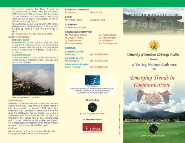 UPES: A Two Day National Conference on Emerging Trends in Communication