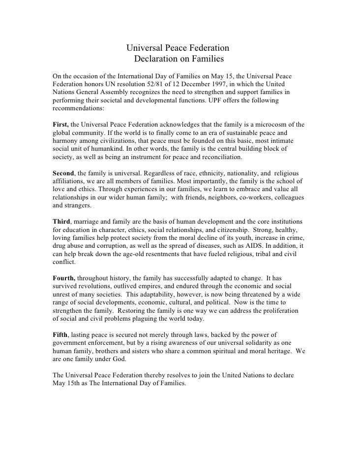 Universal Peace Federation                            Declaration on Families On the occasion of the International Day of ...