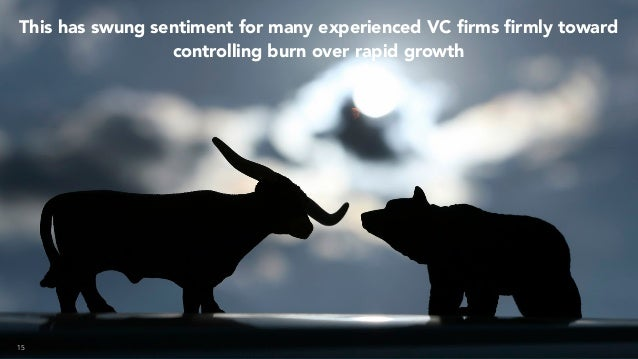15 This has swung sentiment for many experienced VC firms firmly toward controlling burn over rapid growth