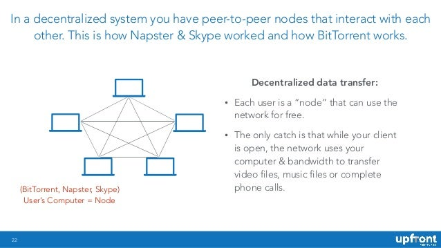 22 In a decentralized system you have peer-to-peer nodes that interact with each other. This is how Napster & Skype worked...