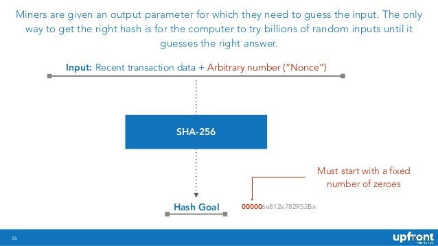26 Miners are given an output parameter for which they need to guess the input. The only way to get the right hash is for ...