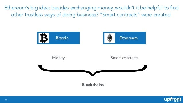 """36 Ethereum's big idea: besides exchanging money, wouldn't it be helpful to find other trustless ways of doing business? """"..."""