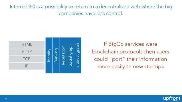48 Internet 3.0 is a possibility to return to a decentralized web where the big companies have less control. If BigCo serv...