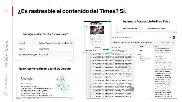 """¿Es rastreable el contenido del Times? Sí.33 @fernandomacia No existe versión de caché de Google Incluye meta robots """"noar..."""