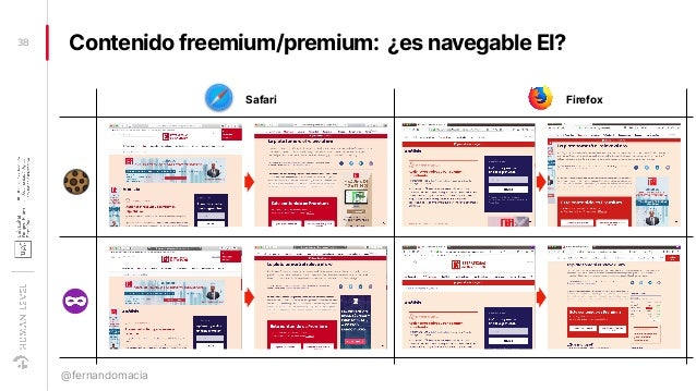 Contenido freemium/premium: ¿es navegable EI?38 @fernandomacia Safari Firefox