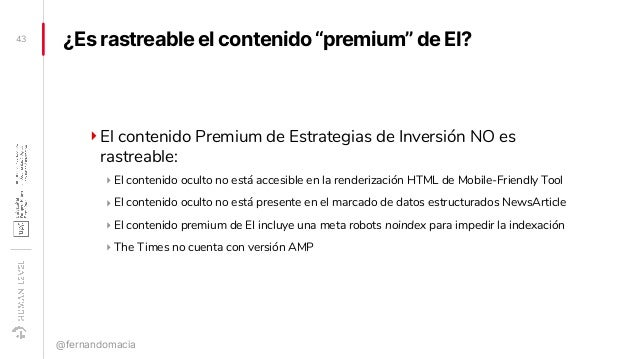 """¿Es rastreable el contenido """"premium"""" de EI? ‣El contenido Premium de Estrategias de Inversión NO es rastreable: ‣ El cont..."""