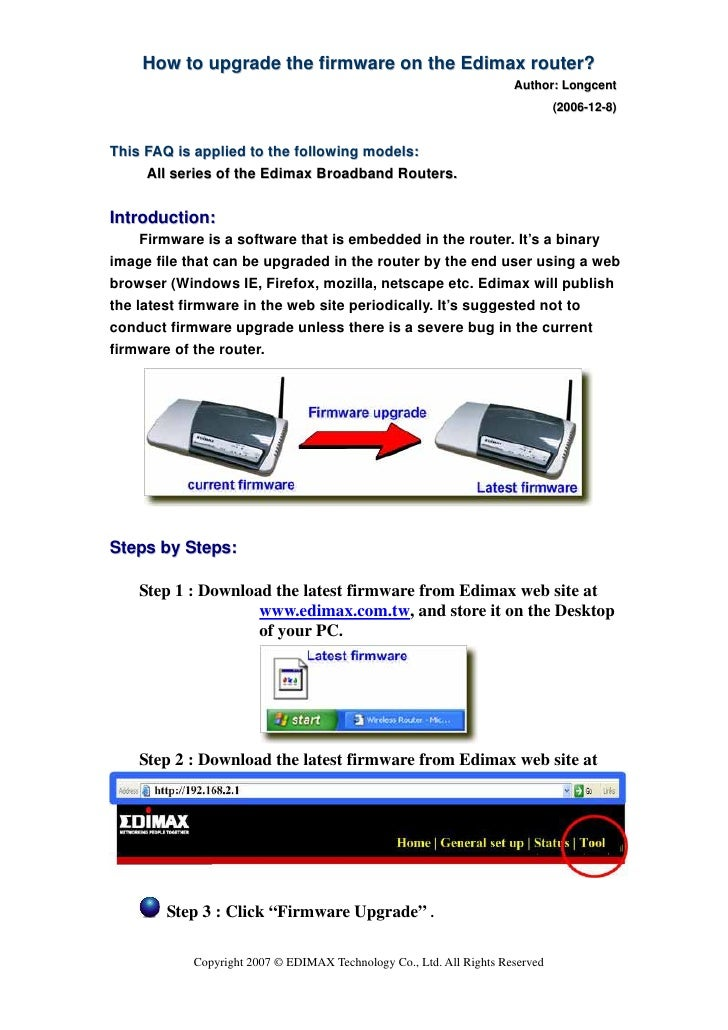 How to upgrade the firmware on the Edimax router?                                                                      Aut...