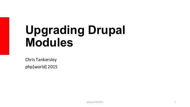 Upgrading Drupal Modules Chris	   Tankersley	    php[world]	   2015	    php[world]	   2015	    1