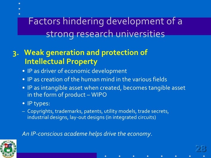 Factors hindering development of a strong research universities<br />2. Weak state policies and framework in research res...