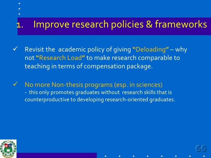 Develop research agenda that address national, regional and local issues/needs