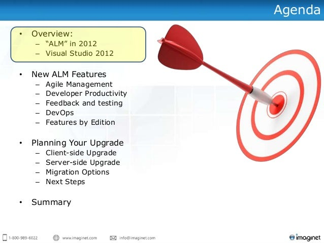 "Agenda • Overview: – ""ALM"" in 2012 – Visual Studio 2012 • New ALM Features – Agile Management – Developer Productivity – F..."