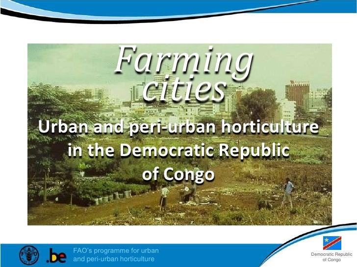 Growing greener<br />in the Democratic Republic of the Congo<br />cities<br />Democratic Republic<br />of the Congo<br />