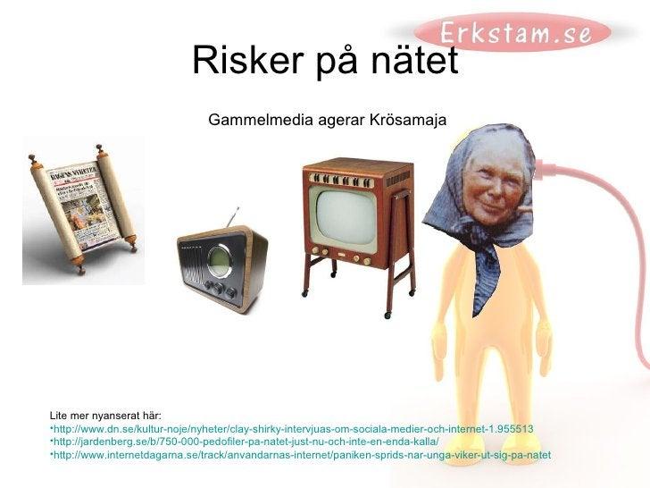 Risker på nätet <ul><li>Lite mer nyanserat här:  </li></ul><ul><li>http://www.dn.se/kultur-noje/nyheter/clay-shirky-interv...