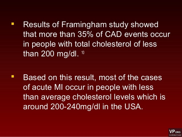  Results of Framingham study showed that more than 35% of CAD events occur in people with total cholesterol of less than ...