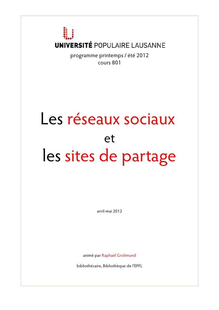 programme printemps / été 2012             cours 801Les réseaux sociaux                     etles sites de partage        ...