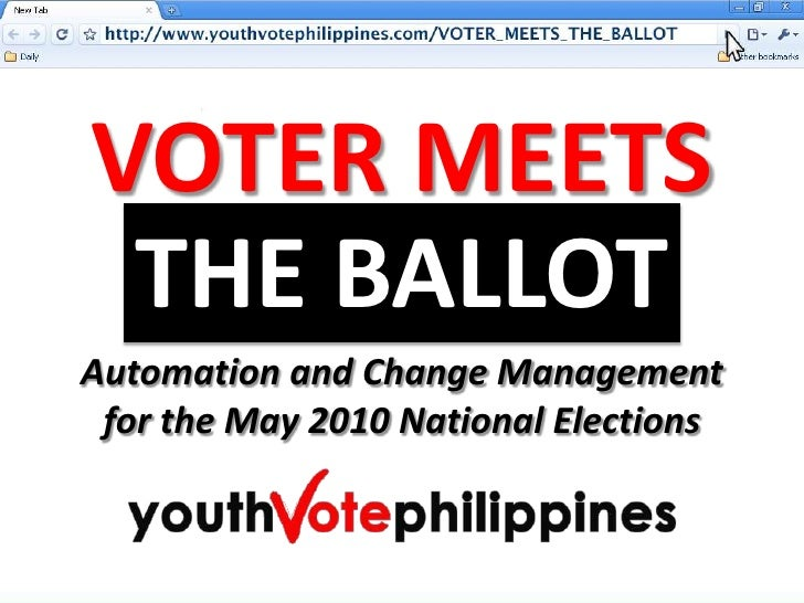 VOTER MEETS<br />THE BALLOT<br />Automation and Change Management<br />for the May 2010 National Elections<br />