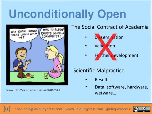 brian.hole@ubiquitypress.com | www.ubiquitypress.com| @ubiquitypress The Social Contract of Academia • Validation • Dissem...