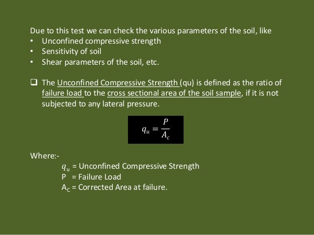 how to find unconfined compressive strength
