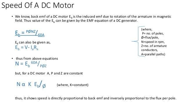 Back emf equation of dc motor for Motor speed control methods