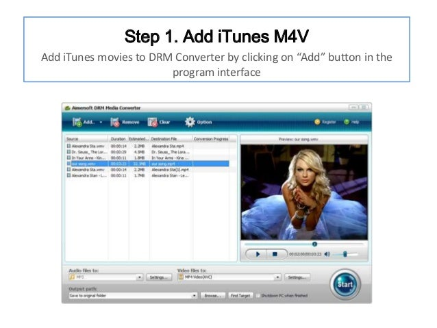 """Step 1. Add iTunes M4V Add iTunes movies to DRM Converter by clicking on """"Add"""" button in the program interface"""