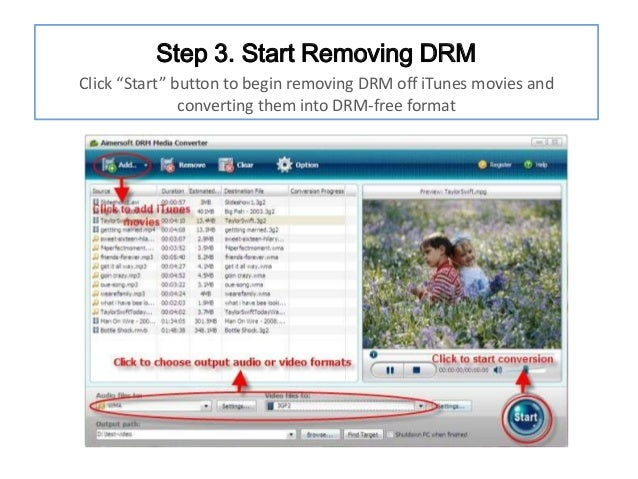"""Step 3. Start Removing DRM Click """"Start"""" button to begin removing DRM off iTunes movies and converting them into DRM-free ..."""