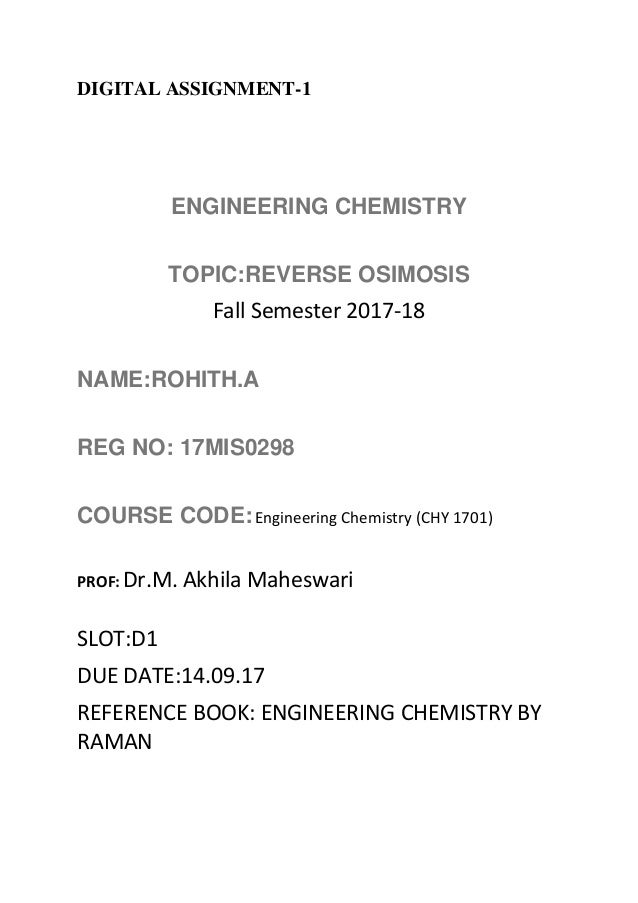 Reverse Due Date >> Upload2 Chemistry Reverse Osmisis