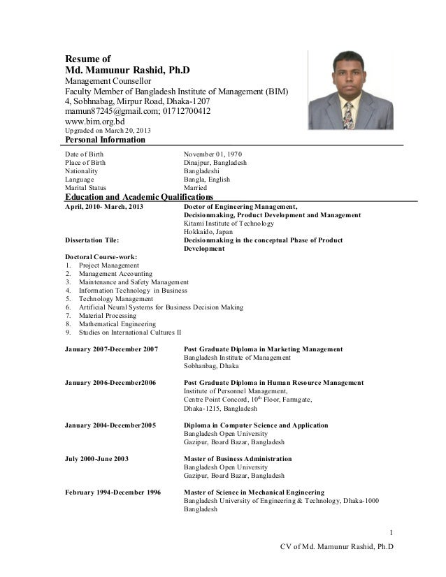 resume ofmd mamunur rashid phdmanagement counsellorfaculty member of bangladesh institute of management - Cv Computer Science Graduate