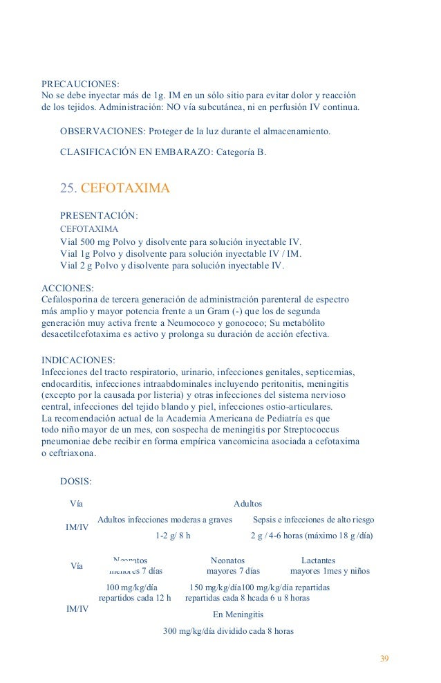 Guía Farmacológica CONTRAINDICACIONES: Está contraindicada en pacientes con antecedentes de hipersensibilidad al grupo de ...