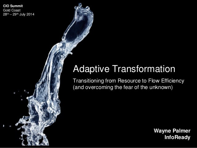 Adaptive Transformation Transitioning from Resource to Flow Efficiency (and overcoming the fear of the unknown) Wayne Palm...