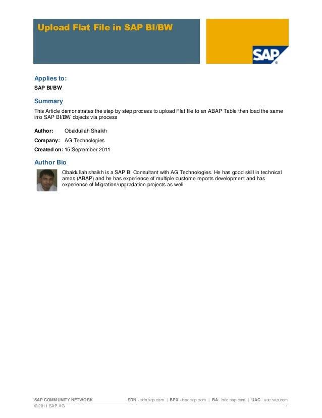 SAP COMMUNITY NETWORK SDN - sdn.sap.com | BPX - bpx.sap.com | BA - boc.sap.com | UAC - uac.sap.com© 2011 SAP AG 1Upload Fl...